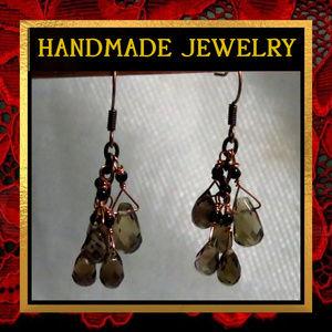 Smokey Quartz Cluster Dangle  Earrings #216